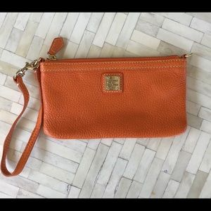 Douney and Bourke Orange Leather Wristlet Coin